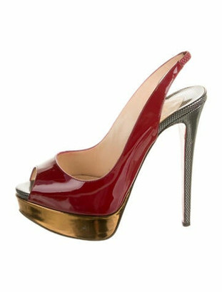 Christian Louboutin Patent Leather Slingback Pumps Red
