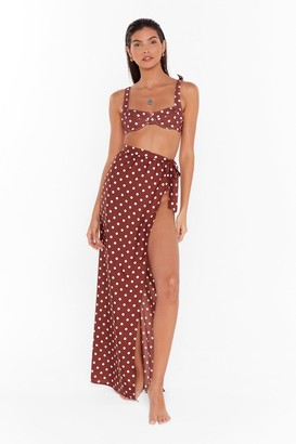 Nasty Gal Womens We're Dot Tide Down Cover-Up Maxi Skirt - brown - 6