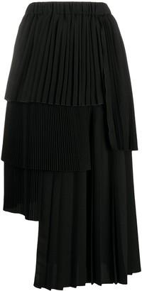 No.21 Asymmetric Pleated Midi Skirt
