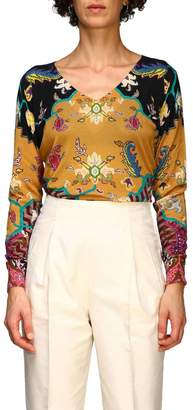 Etro Long-sleeved Shirt In Silk And Cashmere With Cross Pattern By