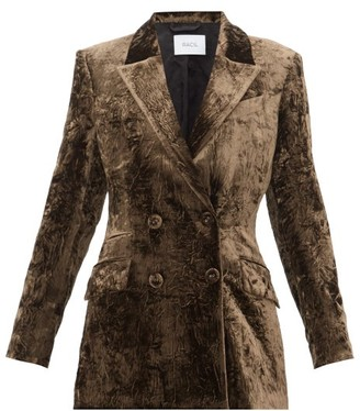 Racil Archie Double-breasted Crushed-velvet Jacket - Womens - Brown
