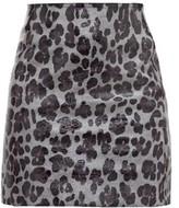Art School - Leopard-print Leather Mini Skirt - Womens - Leopard