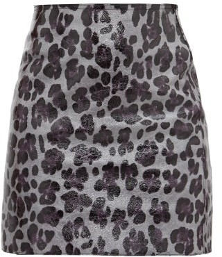 Art School Leopard-print Leather Mini Skirt - Leopard