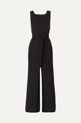 Low Classic Belted Crepe Jumpsuit - Black