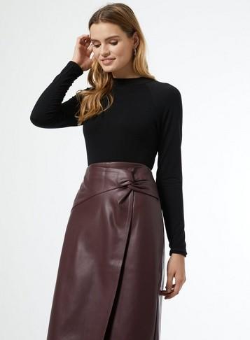 Dorothy Perkins Womens Berry Pu Midi Skirt