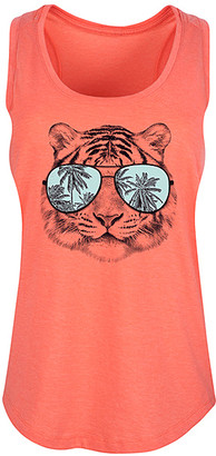 Instant Message Women's Women's Tank Tops HEATHER - Heather Coral Tiger Palm Tree Sunglasses Racerback Tank - Women