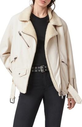 AllSaints Oversize Faux Shearling & Cotton Biker Jacket