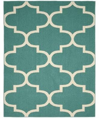 Ebern Designs Boody Large Quatrefoil Teal/Ivory Area Rug Ebern Designs Rug Size: 8' x 10'
