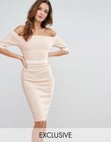 Vesper Paneled Off Shoulder Pencil Dress