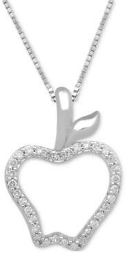 "Enchanted Disney Fine Jewelry Diamond Apple Pendant Necklace (1/10 ct. t.w.) in Sterling Silver, 17"" + 2"" extender"