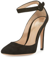 Gianvito Rossi Suede Ankle-Wrap 105mm Pump, Black
