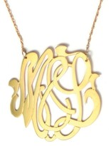 The Well Appointed House Round Metal Script Monogram Necklace