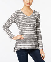 Style&Co. Style & Co. Petite Ribbed Striped High-Low Top, Only at Macy's