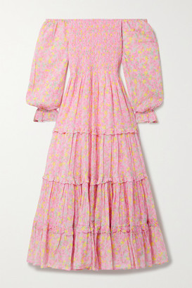 LoveShackFancy Capri Tiered Shirred Floral-print Cotton-voile Midi Dress - Pink