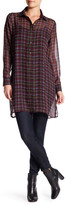 Bobeau Oversized Plaid Tunic Shirt