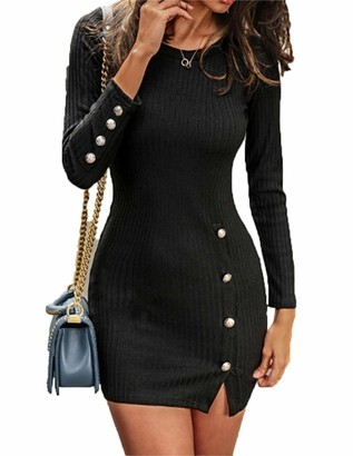 Sunnykud Womens Elegant Knit Dress Crew Neck Business Dresses Bodycon Long Sleeve Wrap Sweater Cocktail Pencil Skirt Business Mini Dress Plus Size Navy