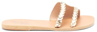 Ancient Greek Sandals Ieria Braided Metallic-leather Slides - Gold