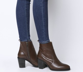 Office Aberdeen Unlined Block Heel Boots Choc Leather