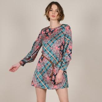 Molly Bracken Short Printed Dress with 3/4 Length Sleeves