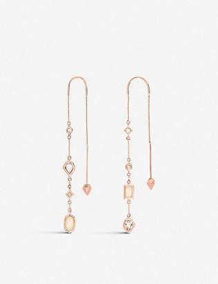 Kendra Scott Yves 14ct rose-gold and gemstone threader earrings
