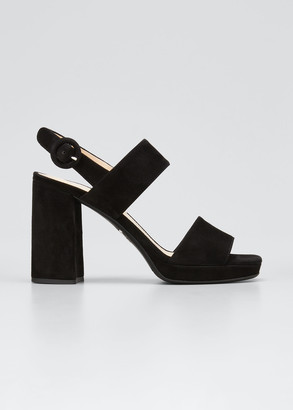 Prada Suede Two-Strap Block-Heel Sandals