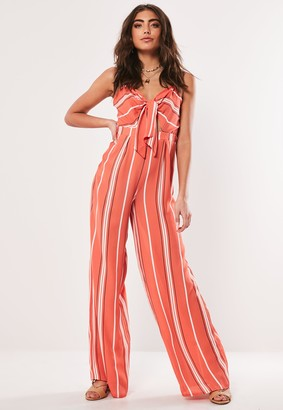 Missguided Red Stripe Tie Front Wide Leg Jumpsuit