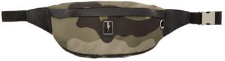 Neil Barrett Khaki Eco-Leather Camo Belt Bag