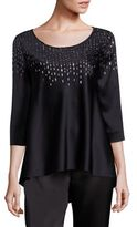 St. John Sequin-Embellished Liquid Satin Hi-Lo Top