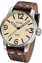 TW Steel Men's 'Maverick' Quartz Stainless and Leather Casual Watch, Color:Brown (Model: MS25)