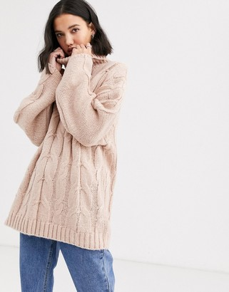NATIVE YOUTH high neck jumper in chunky cable knit-Pink