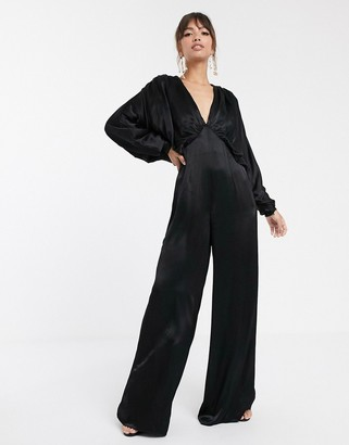 Asos Edition EDITION ruched batwing satin jumpsuit-Black