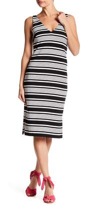 Betsey Johnson V-Neck Stripe Print Shift Dress