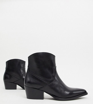Depp wide fit leather western ankle boots