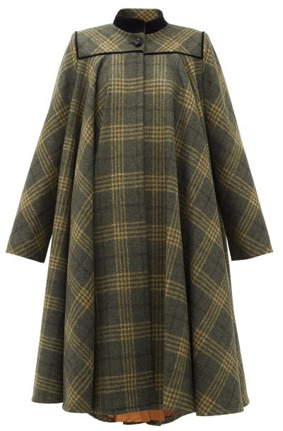 Gucci Velvet-collar Checked-wool Cape Coat - Grey Multi