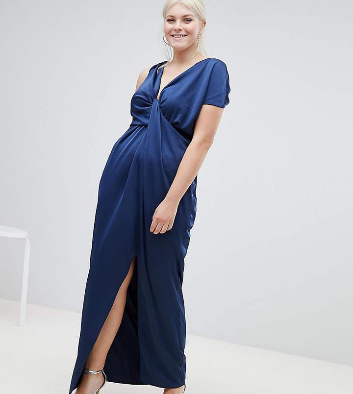 Asos DESIGN Curve drape satin maxi dress