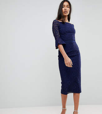 Little Mistress Tall All Over Lace Bardot Midi Dress With Fluted Sleeve Detail-Navy