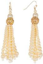 Stephan & Co Simulated Pearl Filigree Tassel Earrings