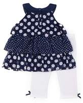 Little Lass Daisy & Dots Ruffle Tiered Chiffon Top and Legging, 2-Piece Outfit Set (Little Girls)
