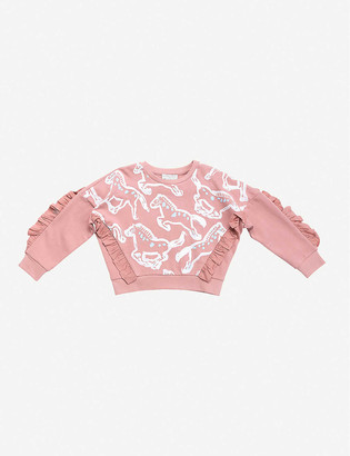Stella McCartney Ruffled cropped horse-print cotton-jersey sweatshirt 4-16 years