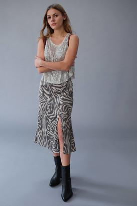Dress Forum Zebra Side Slit Midi Skirt