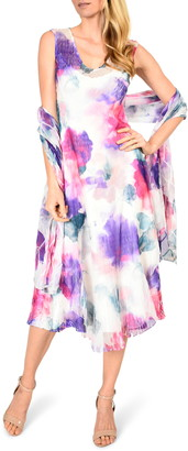 Komarov Handkerchief Hem Chiffon Midi Dress with Shawl