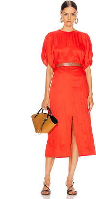 Jil Sander Slit Midi Dress in Chilli | FWRD