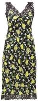 Diane von Furstenberg Issey Lemon-print Lace-trim Silk Dress - Womens - Black Multi