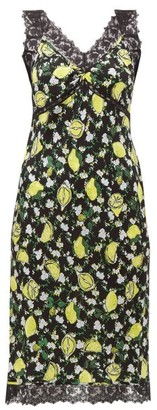 Diane von Furstenberg Issey Lemon-print Lace-trim Silk Dress - Womens - Black Multi