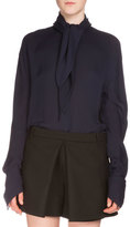 Balenciaga Georgette Knot Blouse, Ink