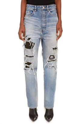 Balenciaga Logo Lined Ripped High Waist Straight Leg Jeans