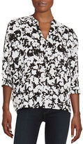 Lord & Taylor Abstract V-Neck Blouse