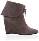 White House Black Market Suede Ankle Boot Wedges