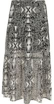 River Island Girls Black mono print tiered maxi skirt