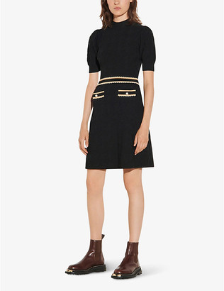 Sandro Meryle braided-trim tweed dress